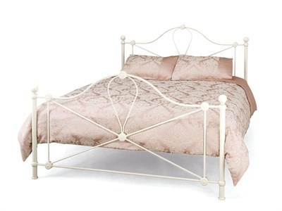 Serene Furnishings Lyon 4 Small Double Glossy Ivory Metal Bed