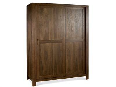 Bentley Designs Lyon Walnut Sliding Door Large Double Wardrobe Walnut Flat Packed Wardrobe