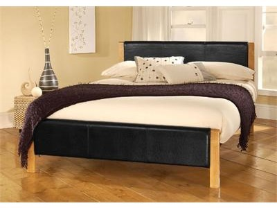 Limelight Mira 4 Small Double Black and Natural Sprung Slatted Bedstead Leather Bed