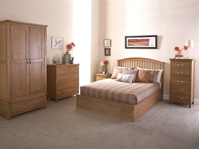 GFW Madrid Oak 3' Single Oak Ottoman Bed Ottoman Bed