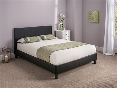 Snuggle Beds Manhattan (Black) 4 Small Double Black Slatted Bedstead Leather Bed