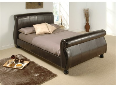 Birlea Marseille 4 6 Double Brown Leather Bed