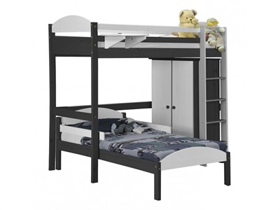 Verona Design Ltd Maximus L Shape High Sleeper Set 1 Graphite 3 Single Graphite Whitewash High Sleeper with Bed Frame High Sleeper
