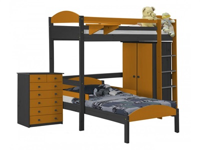 Verona Design Ltd Maximus L Shape High Sleeper Set 2 Graphite 3 Single Graphite High Sleeper with Bed Frame High Sleeper
