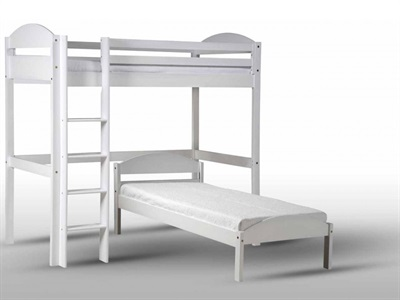 Verona Design Ltd Maximus L Shape High Sleeper Whitewash 3 Single Whitewash Orange High Sleeper with Bed Frame High Sleeper