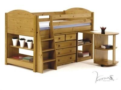 Verona Design Ltd Midsleeper Bedroom Set 1 - Antique 3 Single Antique Cabin Bed