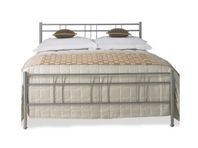 Original Bedstead Co Milano 4 6 Double Glossy Silver Metal Bed