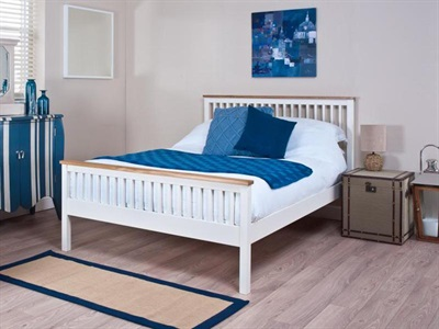 Silentnight Minerve 4 6 Double White Slatted Bedstead Wooden Bed