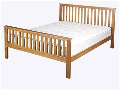 AirSprung Napoli High Foot End 3 Single Cinnamon Wooden Bed