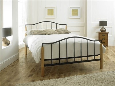 Limelight Neptune 4 6 Double Beech and Black Slatted Bedstead Metal Bed