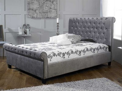 Limelight Orbit Silver 4 6 Double Fabric Silver Slatted Bedstead Fabric Bed