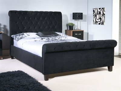 Limelight Orbit Black 4 6 Double Black Slatted Bedstead Fabric Bed
