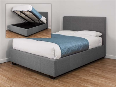 Snuggle Beds Oregon Ottoman Grey Fabric 4 6 Double Grey Fabric Bed Frame Only Ottoman Bed