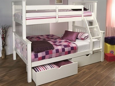 Limelight Pavo with Drawers (High Sleeper Triple Sleeper) 3 Single White Triple Sleeper with Drawers Bunk Bed