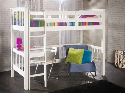 Limelight Pavo Study Bunk 3 Single White Bunk Bed