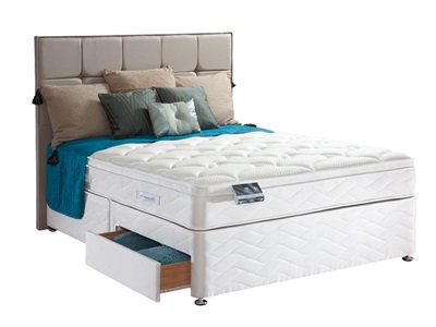 Sealy Pearl Geltex Divan Set 5 King Size Zip And Link Platform Top - No Drawers Divan