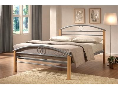 Limelight Pegasus 4 6 Double Silver and Natural Slatted Bedstead Metal Bed