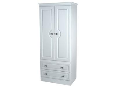 Furniture Express Pembroke 2ft6in 2 Drawer Robe White 2 Door 2 Drawer Wardrobe