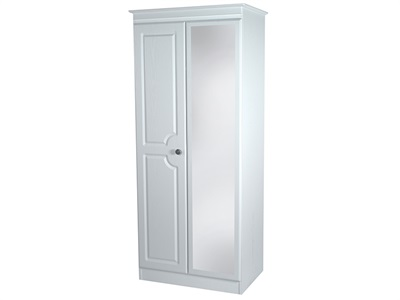 Furniture Express Pembroke 2ft6in Mirror Robe White 2 Door With Mirror Wardrobe
