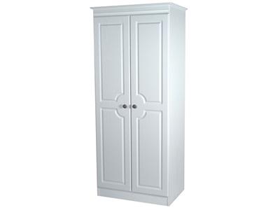 Furniture Express Pembroke Tall 2ft6in Plain Robe White 2 Door Wardrobe