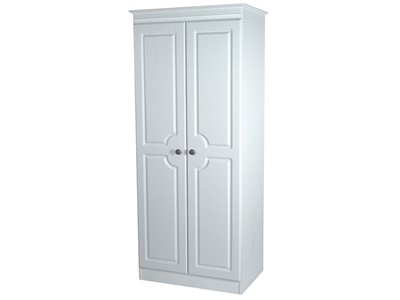 Furniture Express Pembroke Tall 2ft6in Double Hanging Robe White 2 Door Wardrobe