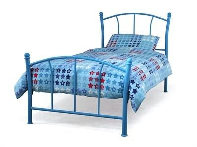 Serene Furnishings Penny (White) 3 Single Blue Metal Bed