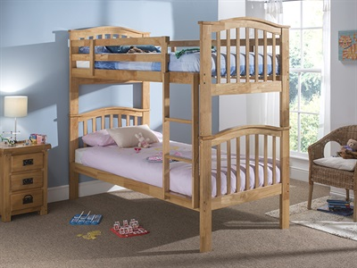 Snuggle Beds Pisa Bunk (Natural) 3 Single Maple Bunk Bed