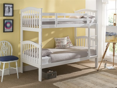 Snuggle Beds Pisa Bunk (White) 3 Single White Bunk Bed
