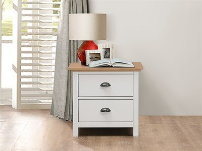Birlea Richmond White & Pine Bedside Chest