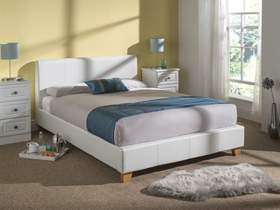 Snuggle Beds Remy Leather (White) 5 King Size White Bed Frame Only Leather Bed
