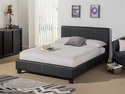 Snuggle Beds Remy Leather (Black) 5 King Size Black Bed Frame Only Leather Bed
