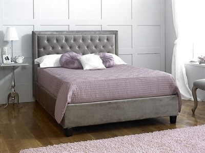 Limelight Rhea Silver 4 6 Double Fabric Silver Slatted Bedstead Fabric Bed