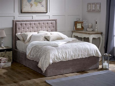 Limelight Rhea Mink Ottoman 4 6 Double Mink Velvet Ottoman Bed Ottoman Bed