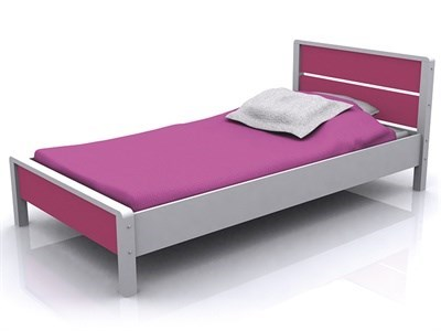 GFW Miami Pink 3 Single Pink And White Wooden Bed