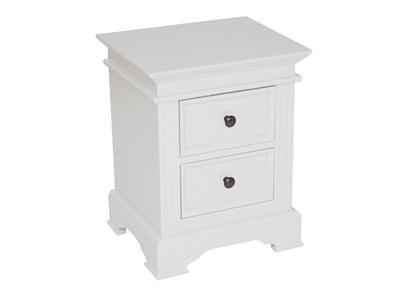 Balmoral Salisbury Bedside Cabinet  White 2 Drawer Bedside Chest