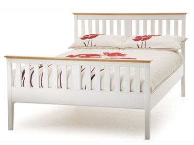 Serene Furnishings Grace Opal White High Footend 3 Single Opal White Wooden Bed