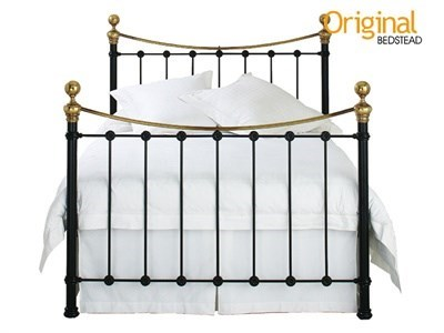 Original Bedstead Co Selkirk in Black and Brass 4 Small Double Satin Black & Antique Brass Slatted Bedstead Metal Bed