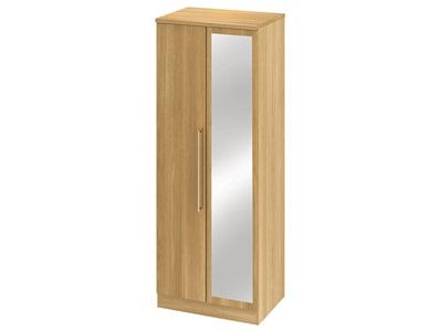 Furniture Express Sherwood Tall 2ft6in Mirror Robe Modern Oak Assembled Wardrobe