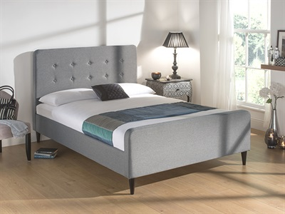 Snuggle Beds Sienna Light Grey 4 6 Double Fabric Light Grey Fabric Bed