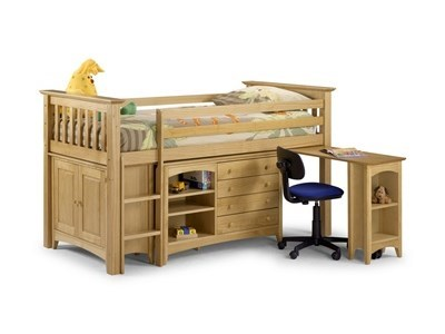 Julian Bowen Barcelona Sleep Station 3 Single Natural Ladder on the Right Cabin Bed