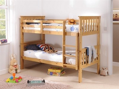 Snuggle Beds Madison (Bunk Bed) Antique Pine 3 Single Natural Bunk Bed