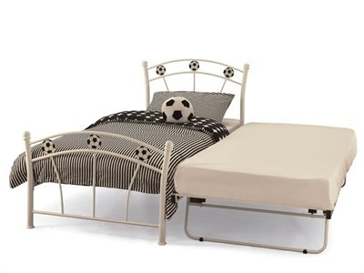 Serene Furnishings Soccer 2 6 Small Single Glossy White Stowaway Bed