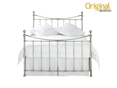 Original Bedstead Co Stirling 3 Single Antique Nickel Slatted Bedstead Metal Bed