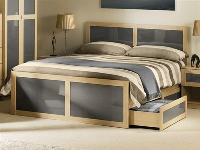Julian Bowen Strada 3 Single Natural and Grey Wooden Bed