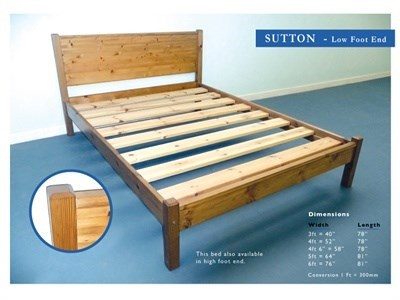 Windsor Sutton Pine 3 Single Antique Matt Low Foot End Wooden Bed