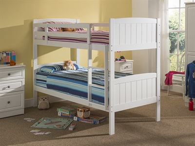 Snuggle Beds Taylor Bunk  White 3 Single Bunk Bed