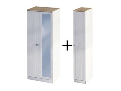 Furniture Express Vienna Triple Mirror Robe Bordeaux Oak with Kaschmir Ash 3 Door With Mirror Wardrobe