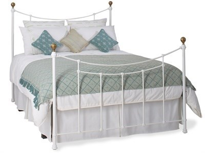 Original Bedstead Co Virginia 4 6 Double Satin White & Antique Brass Slatted Bedstead Metal Bed