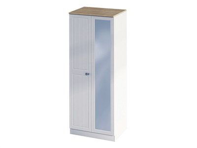 Furniture Express Vienna Tall 2ft6in Mirror Robe  Bordeaux Oak with Kaschmir Ash 2 Door With Mirror Wardrobe
