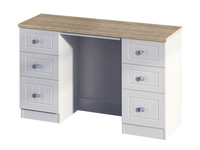 Furniture Express Vienna 6 Drawer Kneehole Bordeaux Oak with Kaschmir Ash Table Only Dressing Table